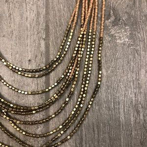 Layered Peach and Gold Bead Necklace
